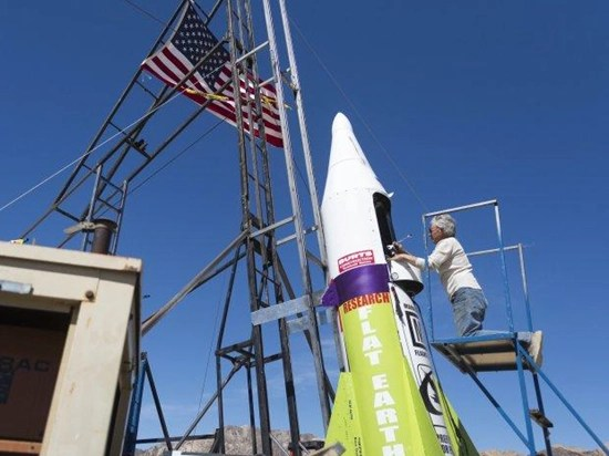 """""""Mad"""" Mike Hughes prepares to enter his homemade steam-powered rocket"""