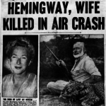 Erroneous headling proclaiming Ernest Hemingway and his wife die in airplane crash