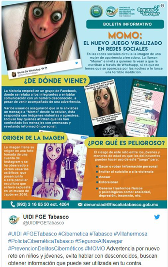 """Example of a """"MoMo Challenge"""" page (in Spanish)"""