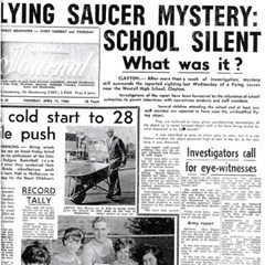 Westall UFO newspaper headline: Flying Saucer Mystery: School Silent. What was it?