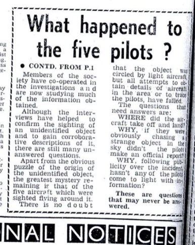 Westall UFO newspaper headline: What happened to the five pilots?