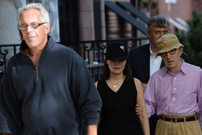 Jeffrey Epstein with accused pedophile Woody Allen