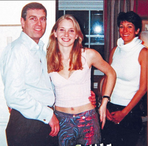 Prince Andrew with 17-year-old Virginia Roberts and Ghislaine Maxwell