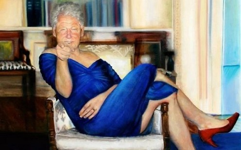 Jeffrey Epstein's Bill Clinton in red dress painting