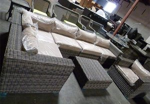 Distressed Outdoor Wicker Sectional Sofa Chair Coffee Table Patio Furniture Set