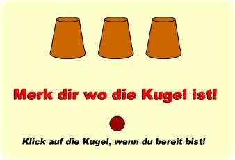 Hütchenspiel im Shockwave-Flash-Format: Konzentrationstest für Männer - Gibts auch für Frauen, Lesben und Schwule (c) concentrationtest.com