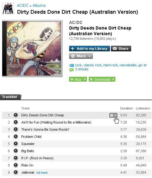 Einen Song zu seiner Last.fm-Playlisthinzufügen - Klick 1