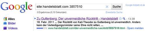 Handelsblatt im Google-Cache