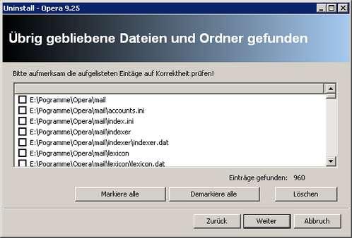 Revo Uninstaller - verwaiste Ordner und Dateien nach Opera-Deinstallationsroutine
