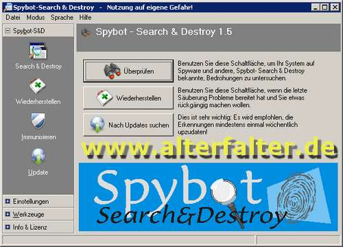 Spybot - Search & Destroy 1.5 - kostenloses Anti-Spyware-Programm in neuer Version - Alter Falter!