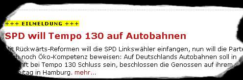 Schleichfahrt als Eilmeldung - SPD fordert Tempo 130 auf Autobahnen