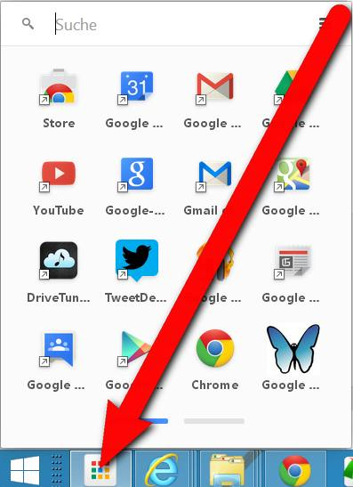 Chrome App Launcher in der Taskleiste von Windows 8