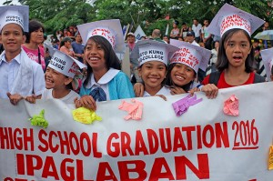 """At the """"People's SONA"""" protest, students are opposed to the K-12. Photo by JL Burgos"""