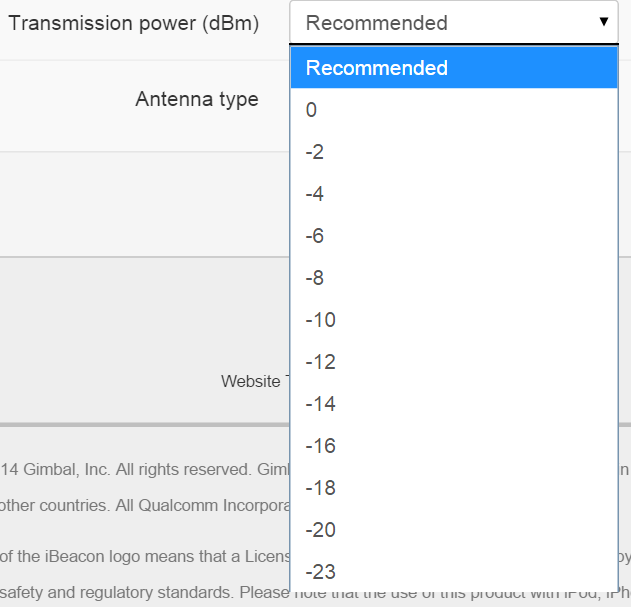 Beacon Configuration – Gimbal – Alternate Stack