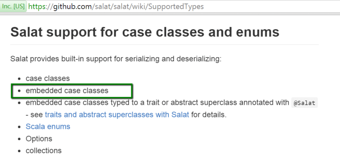 embedded case class support