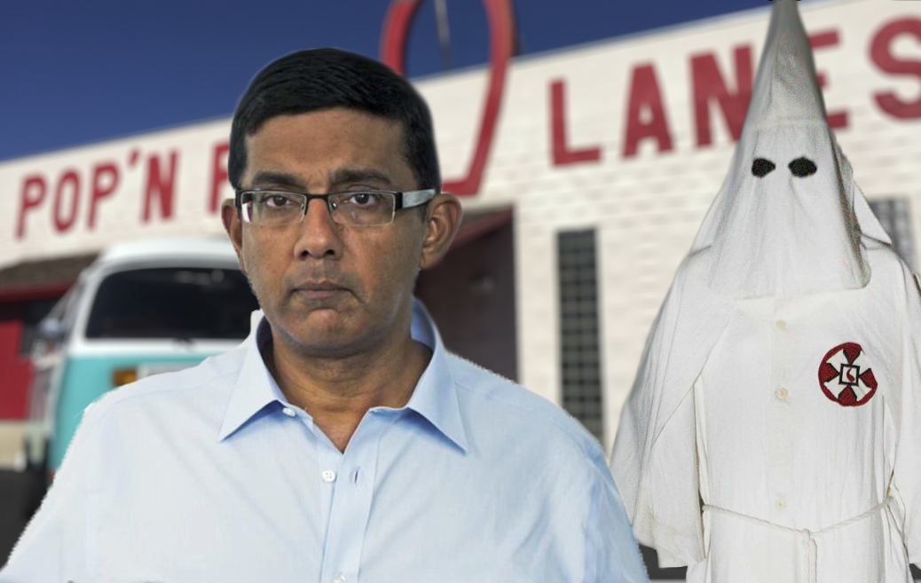 "Dinesh D'Souza Can't Quite Bring Himself to Call Klansman a ""Liberal"" to His Hooded Face"