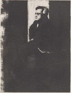 Gum print of John Sloan by Gertrude Kasebier