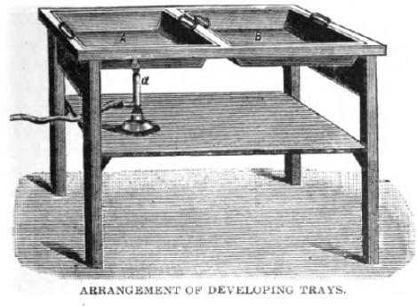Arrangement of developing trays.