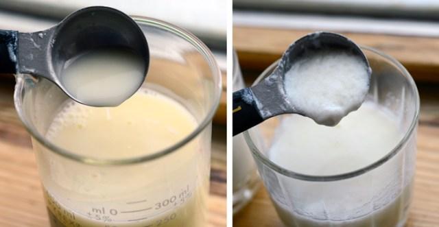Casein curdling using vinegar