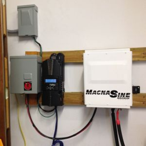 3000 watt inverter with 150 volt charge controller, fused disconnect and 4 breaker distribution panel.