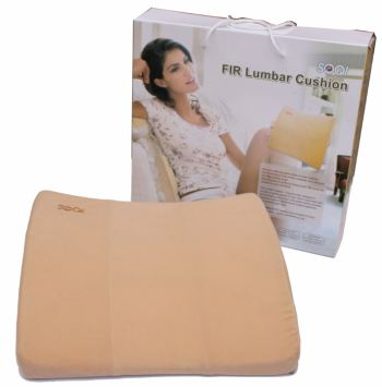 introducing the fir lumbar cushion orthopedic spinal support pillow w massage and far infrared the fir lumbar cushion is an ergonomically designed lumbar support pillow made with high resilient polyurethane material and provides far infrared