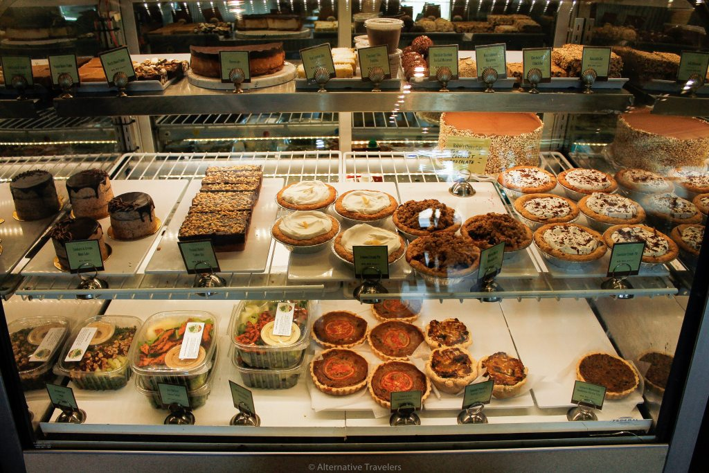 deli counter full of sweet and savory vegan foods at Back to Eden in Portland
