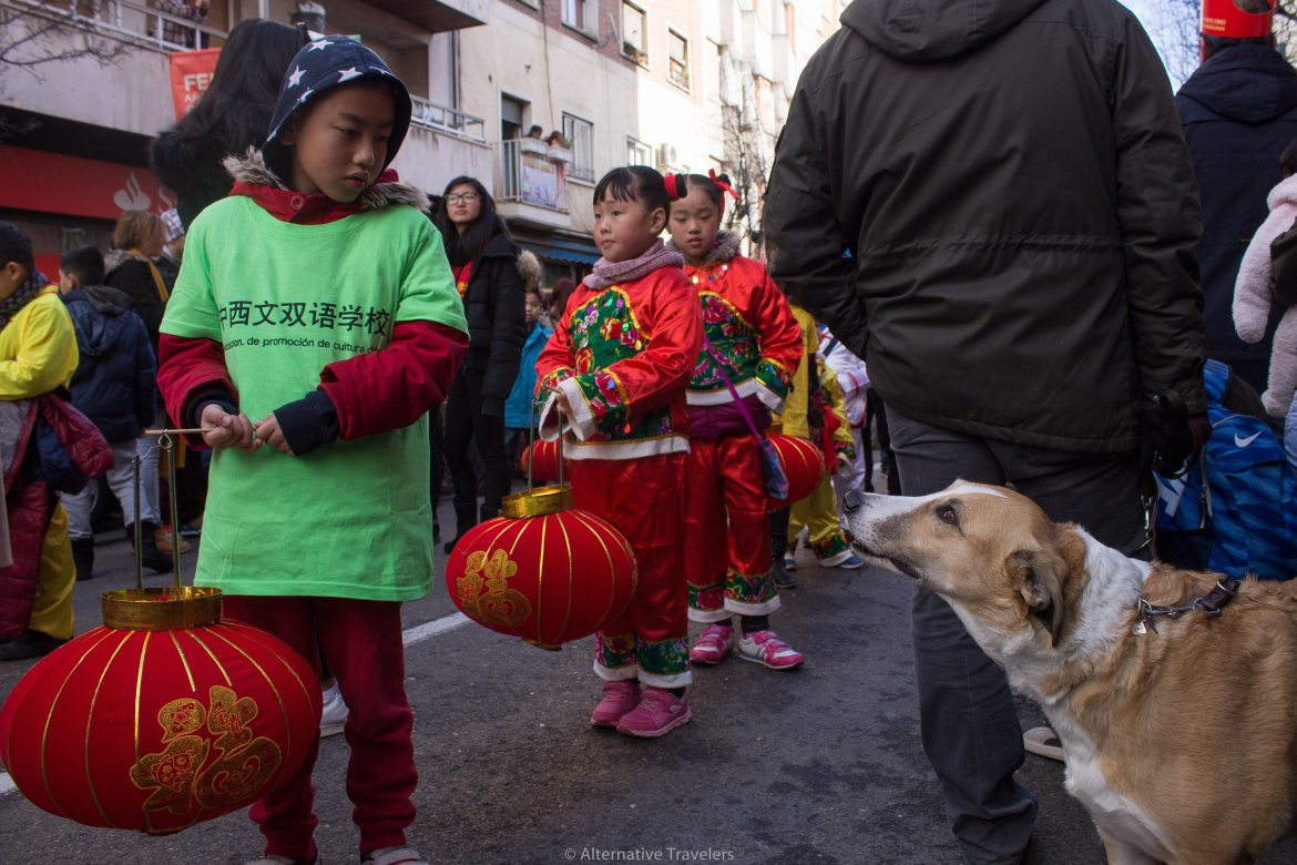 Young boy holding lantern looks at dog in Chinese New Year Parade in Madrid, Spain