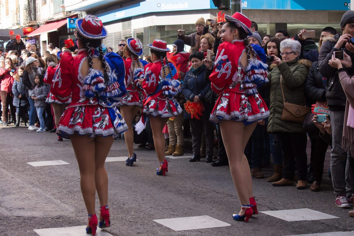 Women wearing dance costumes in red, white, and blue