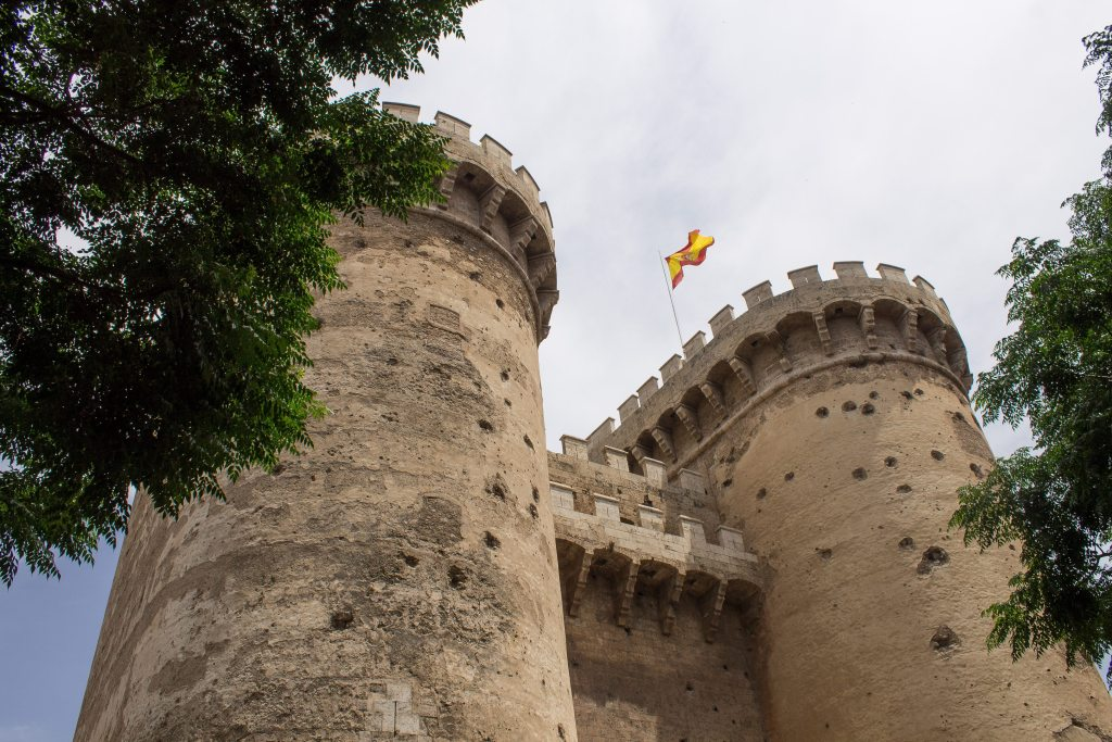 Castle walls in Valencia, Spain