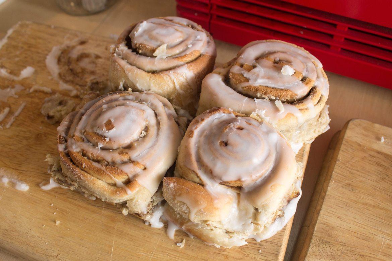 vegan cinnamon buns at The Longhouse Cafe - vegan cafe Brighton