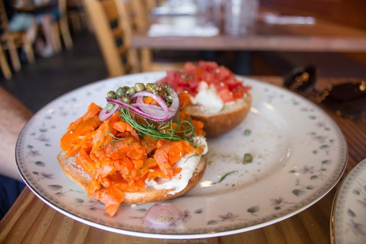 close up of bagel with carrot lox at Aviv in Portland