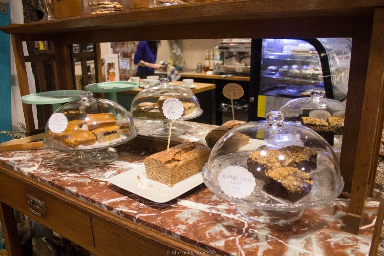 baked goods display at Bohemian Lane, Bilbao Spain