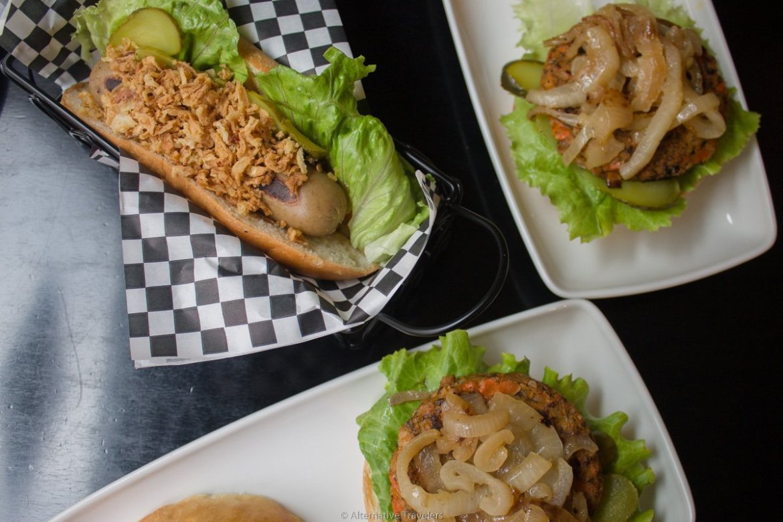 vegan hot dog and vegan burgers at Hot Dog House, Bilbao, Spain.
