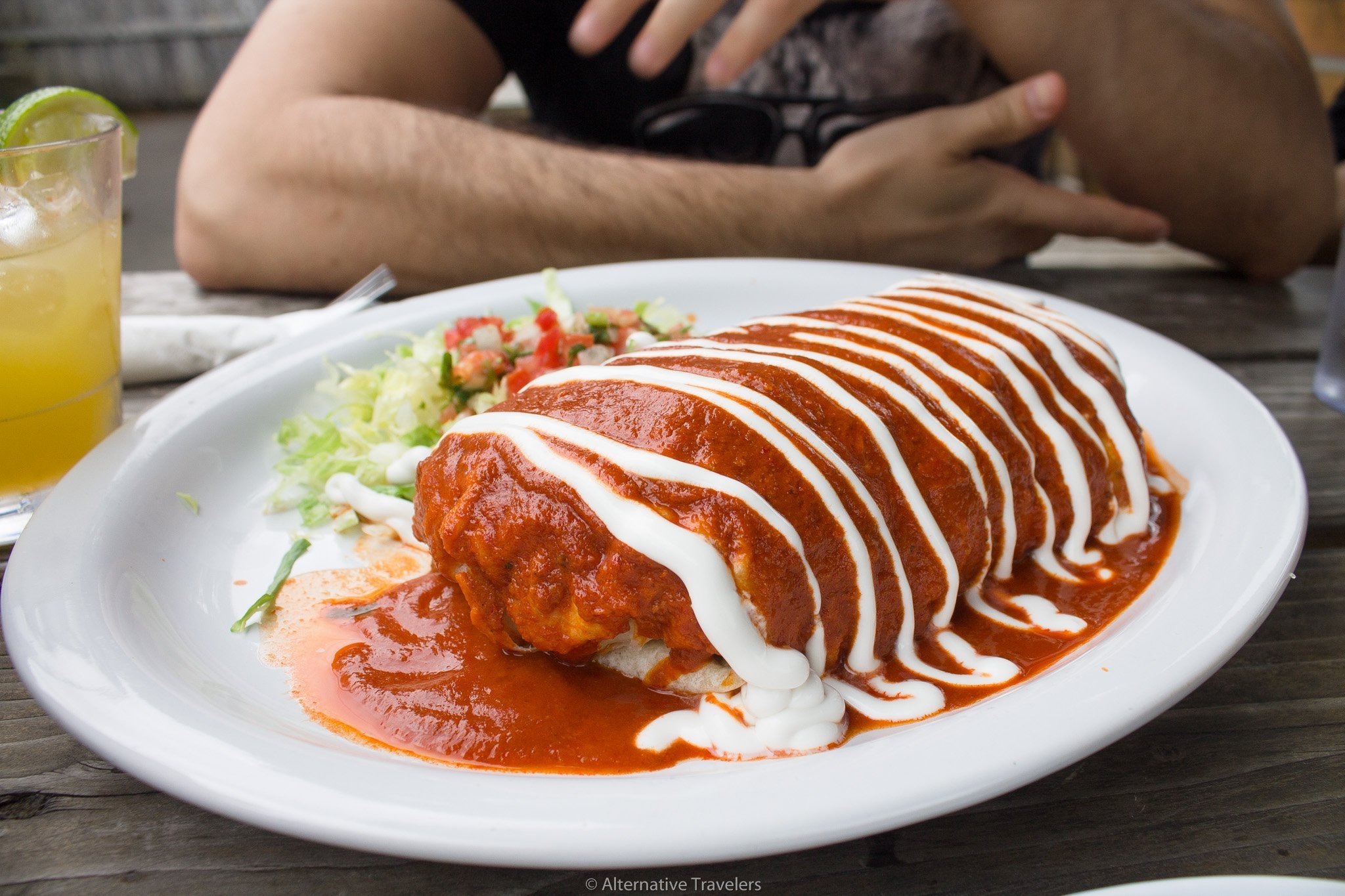 wet burrito with red sauce at el nutritaco in Portland.