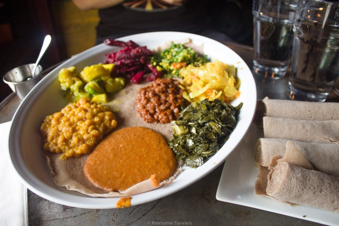 Ethiopian food at one of the best vegan restaurants in Brooklyn, Bunna Cafe