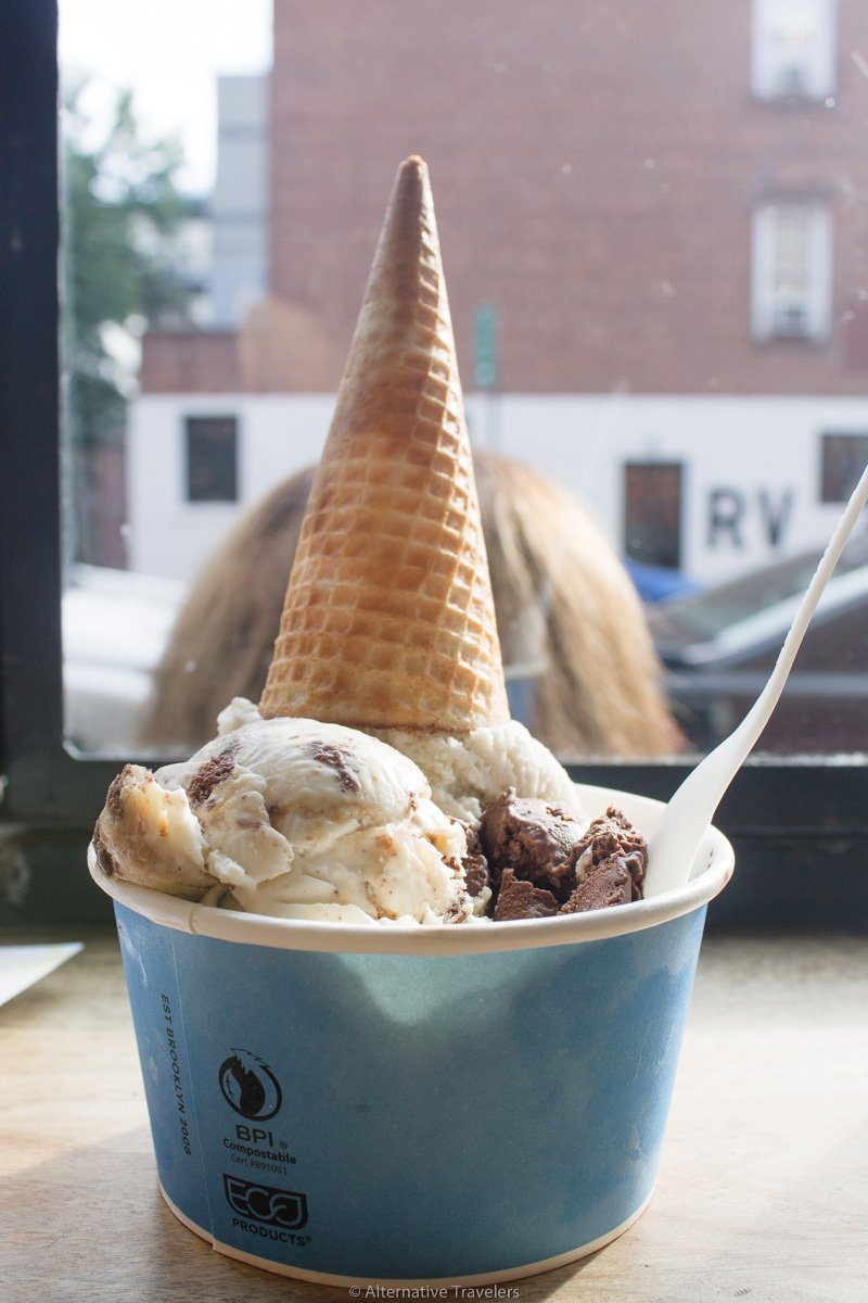 Vegan ice cream in brooklyn at Van Lleuwen