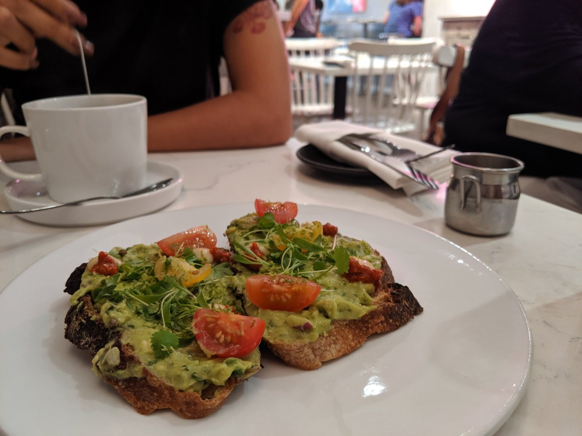 avocado toast at PS kitchen in New York