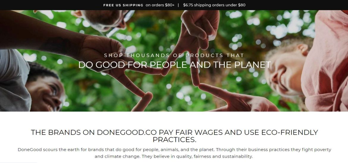 """Done Good Homepage, an ethical alternative to Amazon. screenshot with text """"Shop Thousands of products that do good for people and the planet"""""""