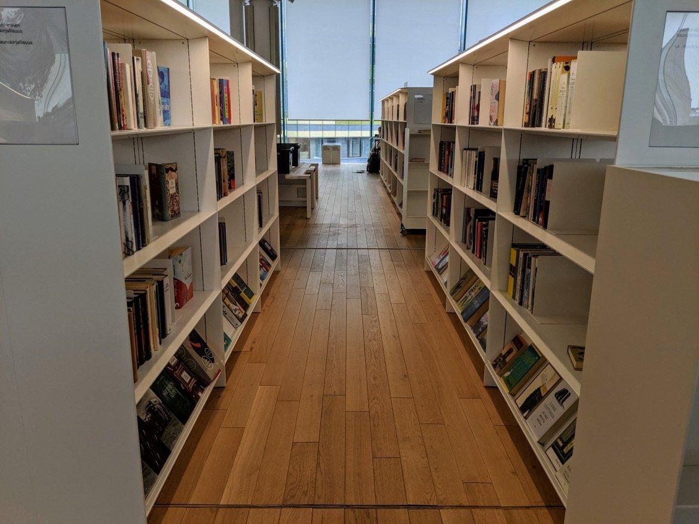 bookshelves in public library in Helsinki, Finland