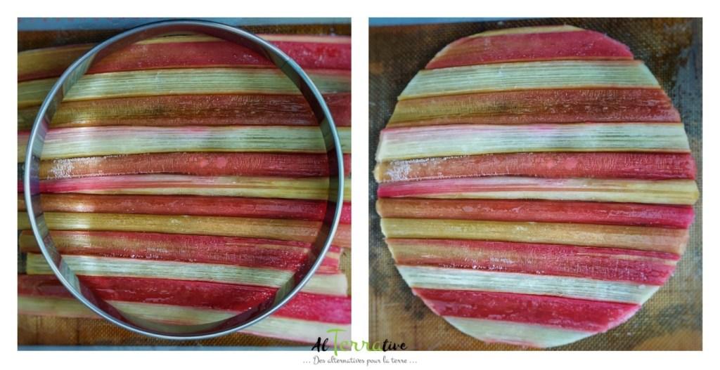 tarte rhubarbe conticini montage decoupe rhubarbe
