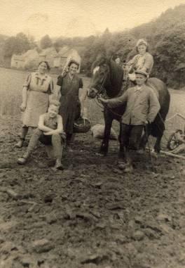Feldarbeit in der Au von links hinten: Gertrud Linzenbach, Luise Junior, Marianne Junior, vorne: Willi Hasbach und Stephan Lacher (Wüscheid)