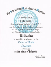 International Brotherhood of Magicians Order of Merlin Excelsior