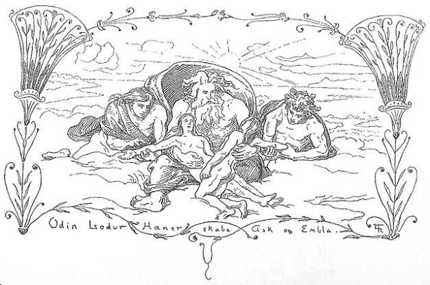 640px-Odin,_Lodur,_Hoenir_skabe_Ask_og_Embla_by_Frølich