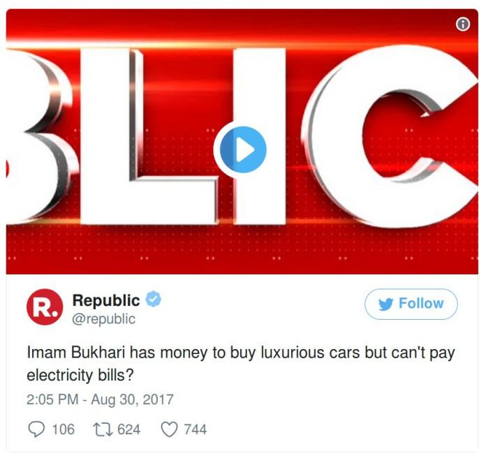 Republic TV deleted tweet