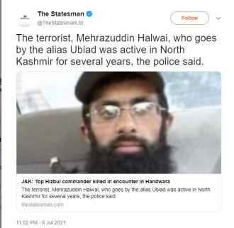 2021-07-11 15_10_55-The Statesman on Twitter_ _The terrorist, Mehrazuddin Halwai, who goes by the al