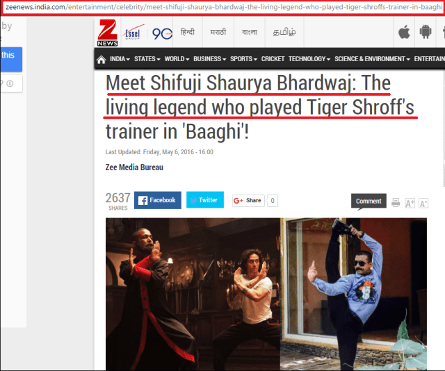 Meet Shifuji Shaurya Bhardwaj: The living legend who played Tiger SHroff's trainer in Baaghi