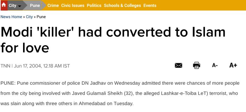 Pranesh Pillai urf Javed Sheikh declared Modi Killer