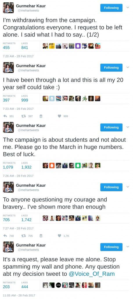 gurmehar kaur withdraws from the abvp campaign