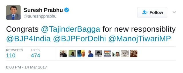 suresh prabhu congrats tajinderbagga for new responsibility