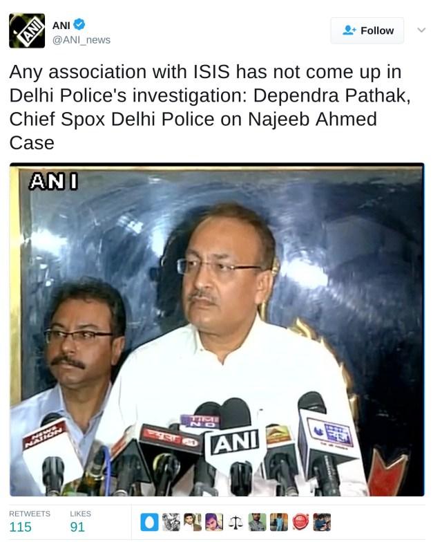 Delhi police says no association of najeeb with isis